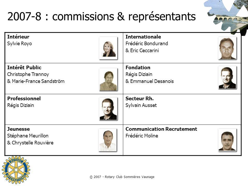 2007-8 : commissions & représentants