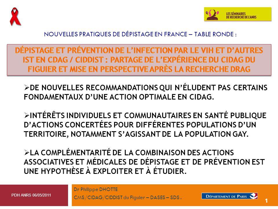 NOUVELLES PRATIQUES DE DÉPISTAGE EN FRANCE – TABLE RONDE :