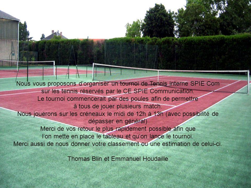 Nous vous proposons d'organiser un tournoi de Tennis interne SPIE Com