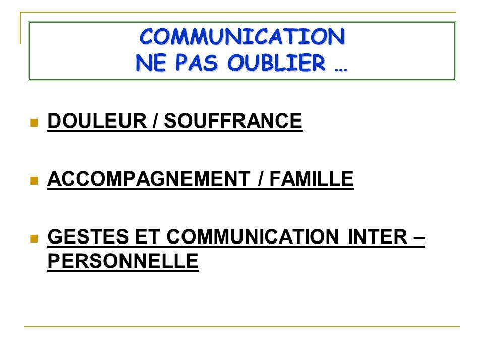 COMMUNICATION NE PAS OUBLIER …