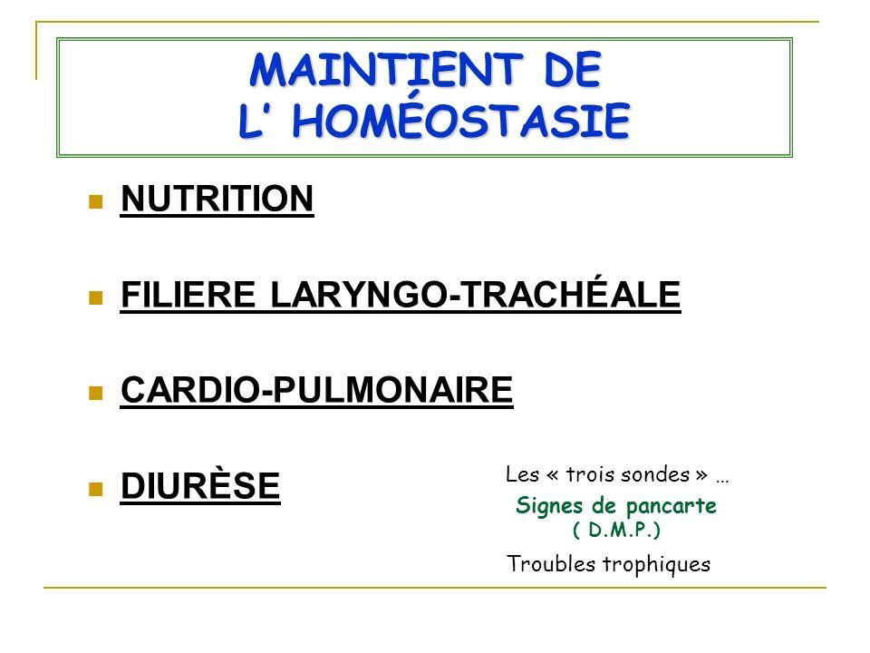 MAINTIENT DE L' HOMÉOSTASIE