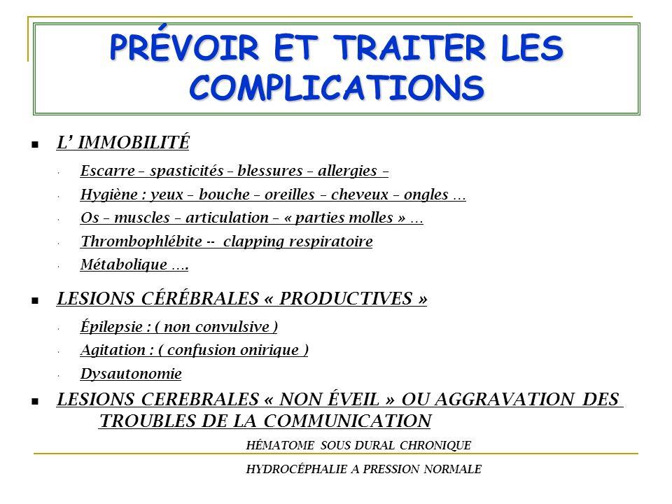 PRÉVOIR ET TRAITER LES COMPLICATIONS