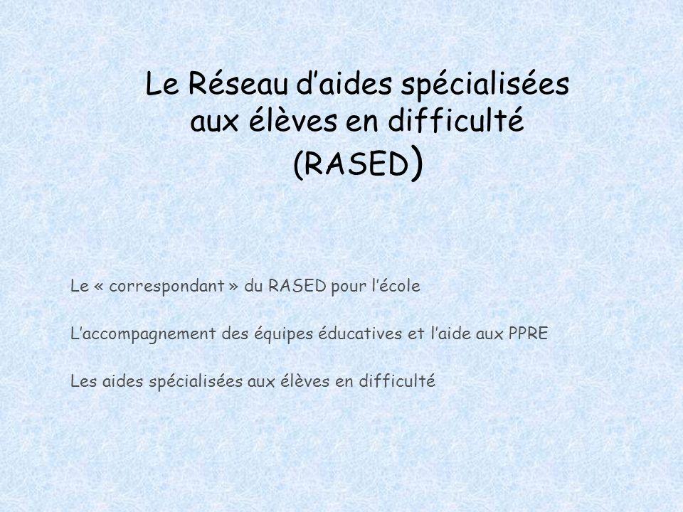 Le Réseau d'aides spécialisées aux élèves en difficulté (RASED)