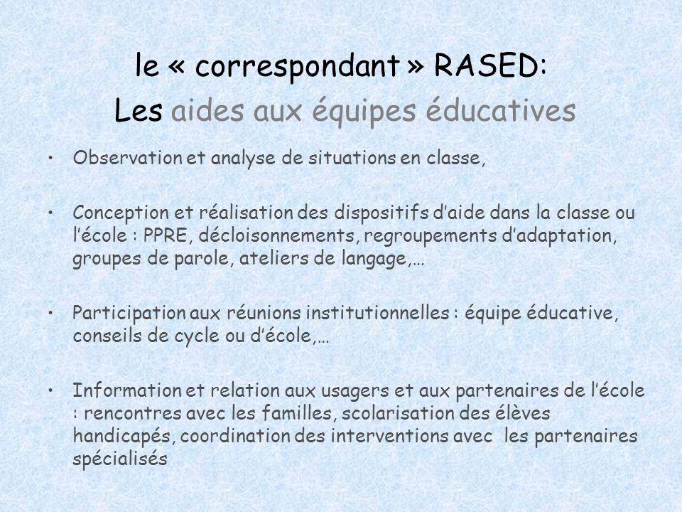 le « correspondant » RASED: Les aides aux équipes éducatives