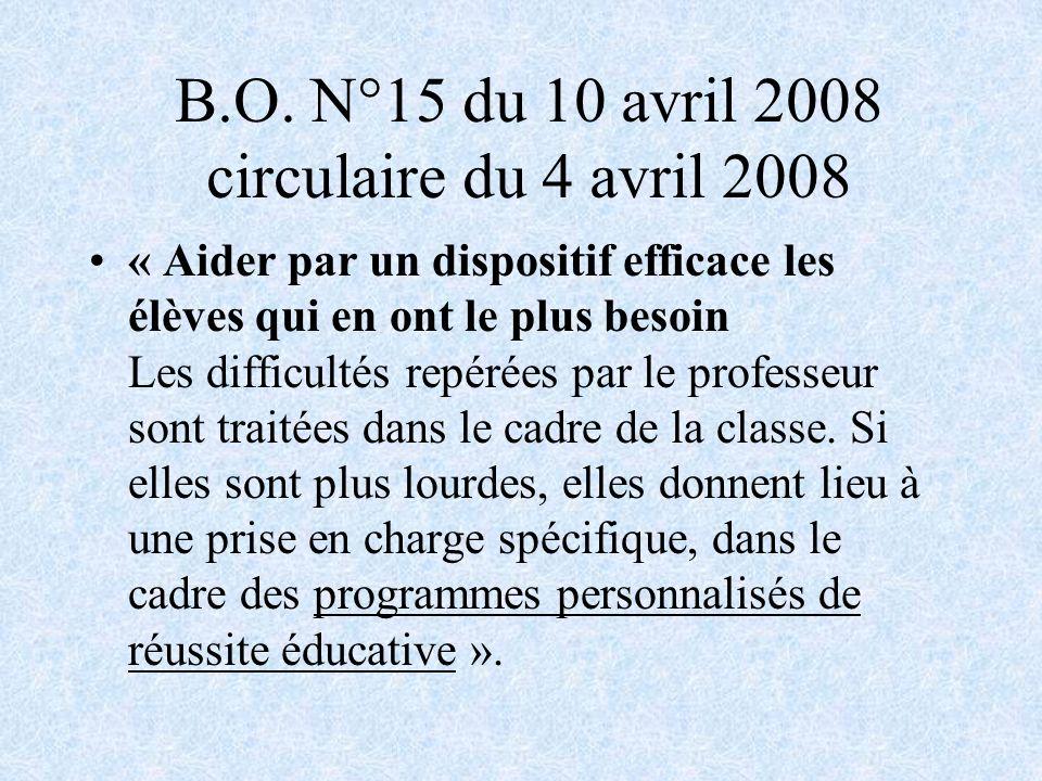 B.O. N°15 du 10 avril 2008 circulaire du 4 avril 2008