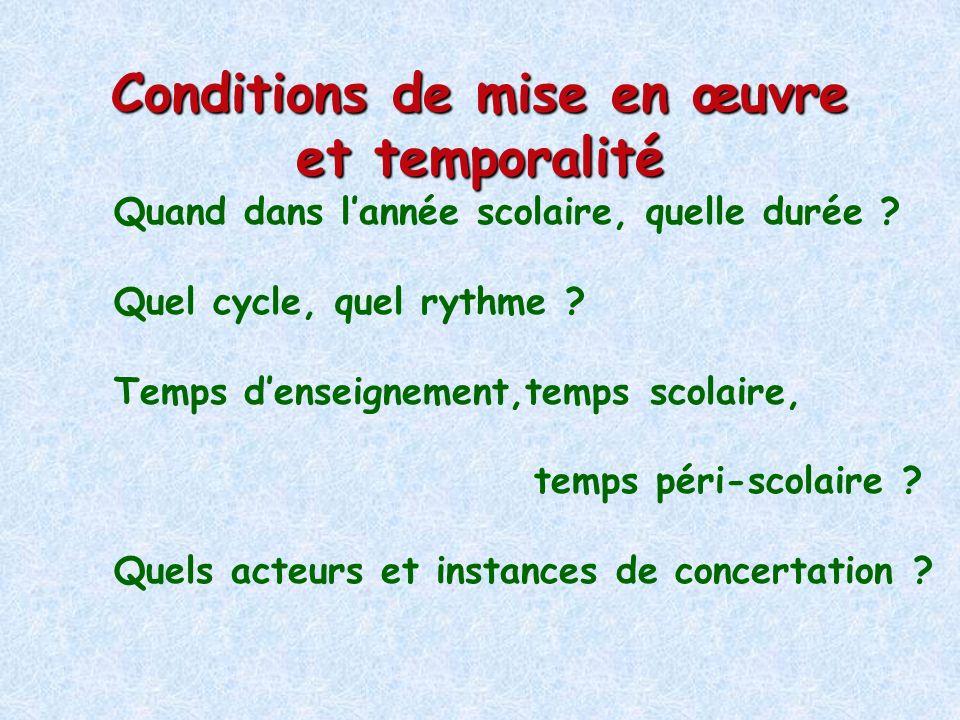 Conditions de mise en œuvre et temporalité