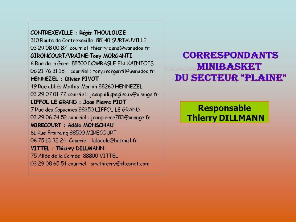 CORRESPONDANTS MINIBASKET DU SECTEUR PLAINE Responsable
