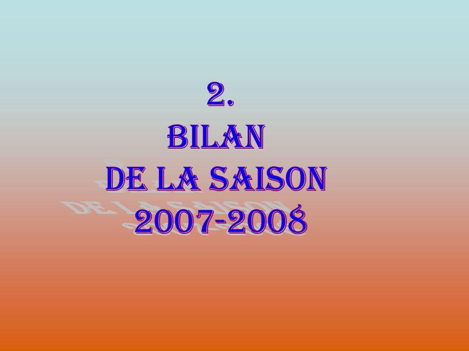 2. BILAN DE LA SAISON 2007-2008