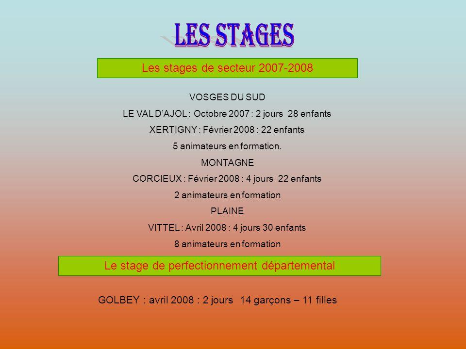 LES STAGES Les stages de secteur 2007-2008