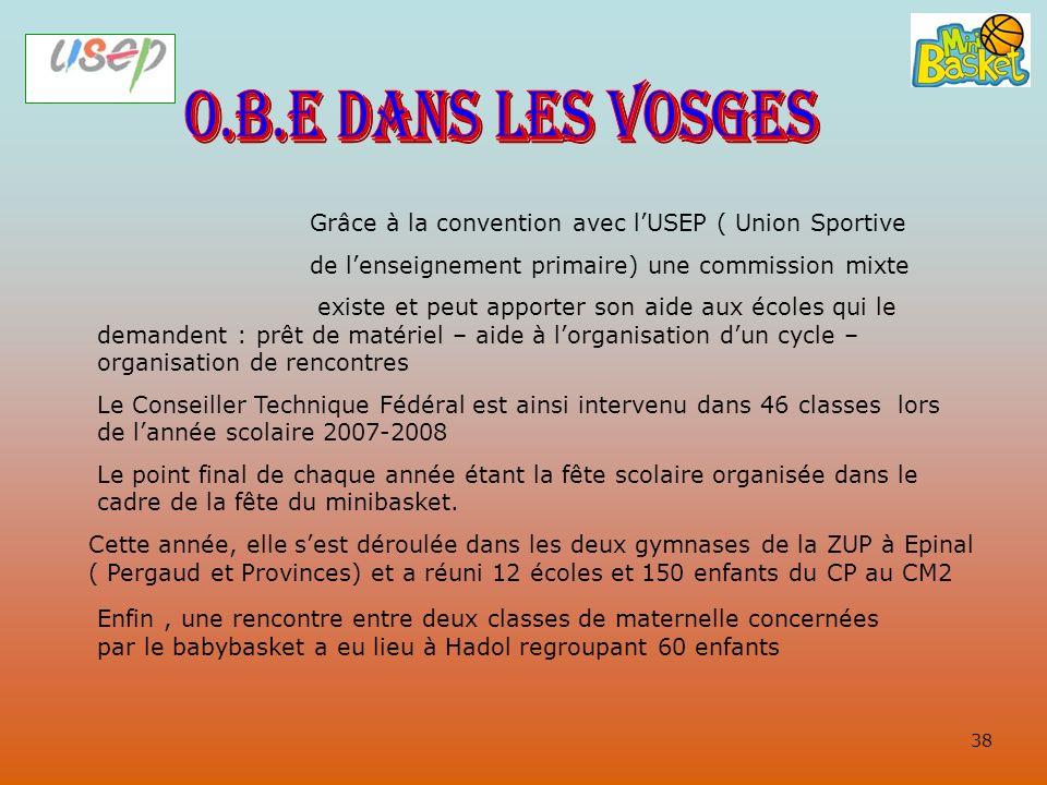 O.B.E dans les Vosges Grâce à la convention avec l'USEP ( Union Sportive. de l'enseignement primaire) une commission mixte.