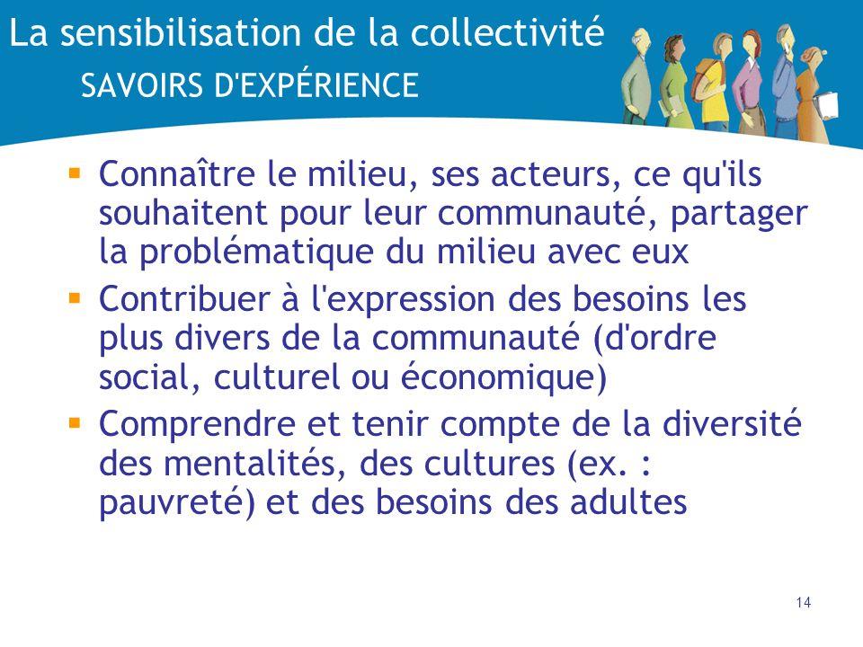 La sensibilisation de la collectivité SAVOIRS D EXPÉRIENCE