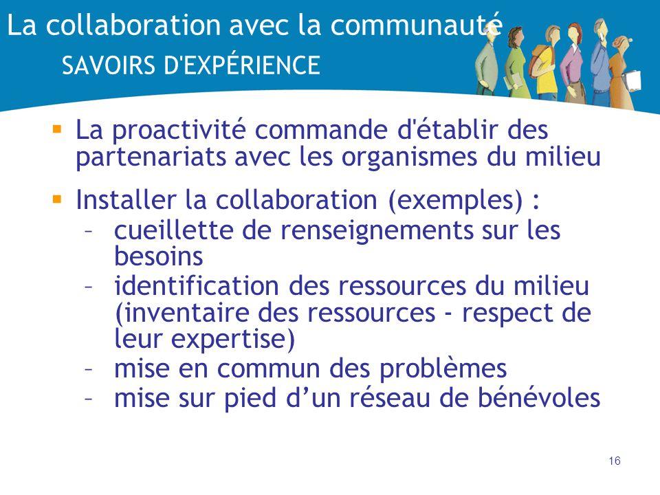 La collaboration avec la communauté SAVOIRS D EXPÉRIENCE