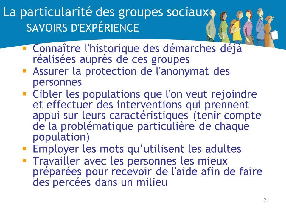La particularité des groupes sociaux SAVOIRS D EXPÉRIENCE