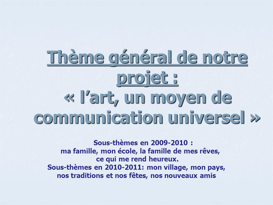 Thème général de notre projet : « l'art, un moyen de communication universel »