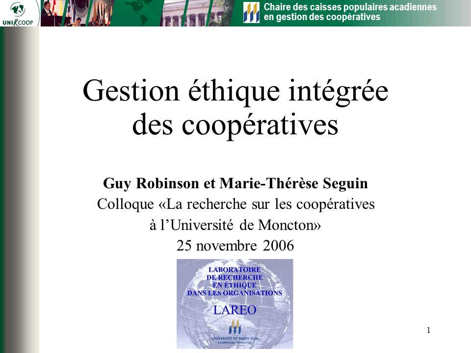 Gestion éthique intégrée des coopératives