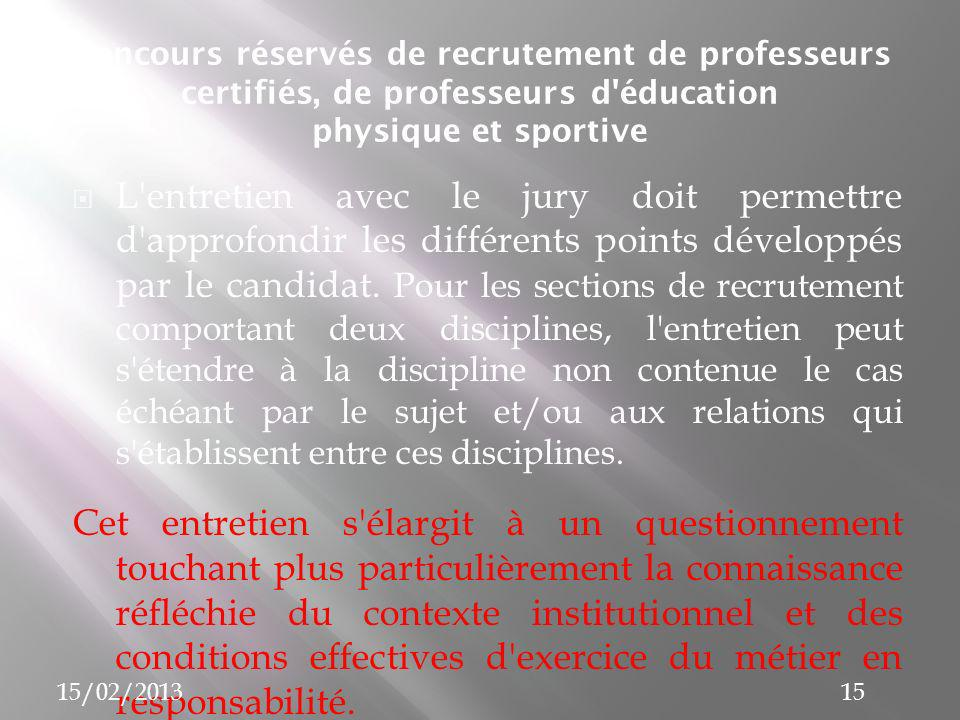 Concours réservés de recrutement de professeurs certifiés, de professeurs d éducation physique et sportive