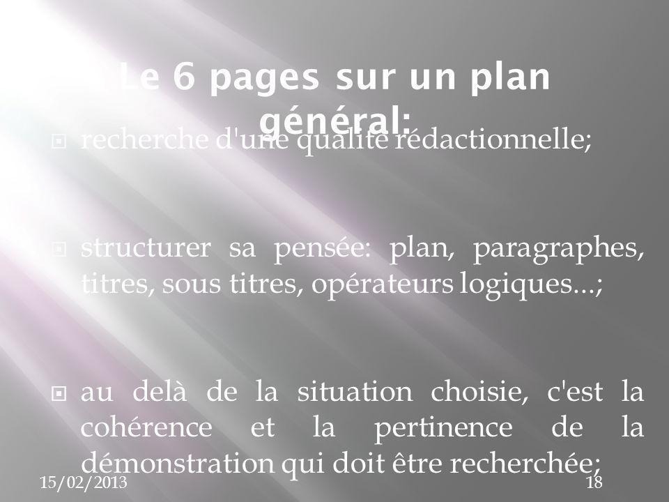 Le 6 pages sur un plan général: