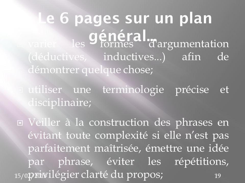 Le 6 pages sur un plan général...