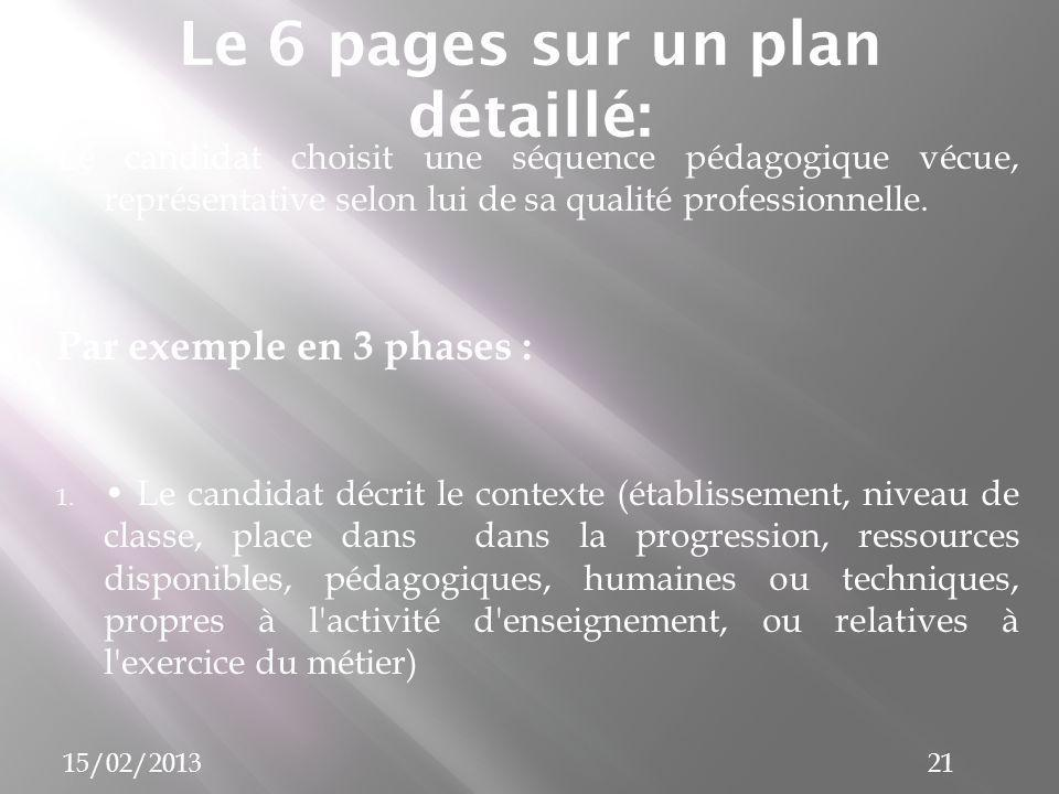 Le 6 pages sur un plan détaillé: