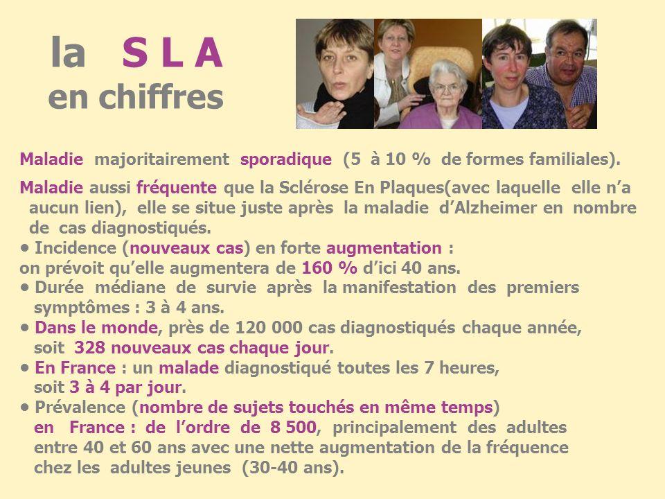 la S L A en chiffres Maladie majoritairement sporadique (5 à 10 % de formes familiales).