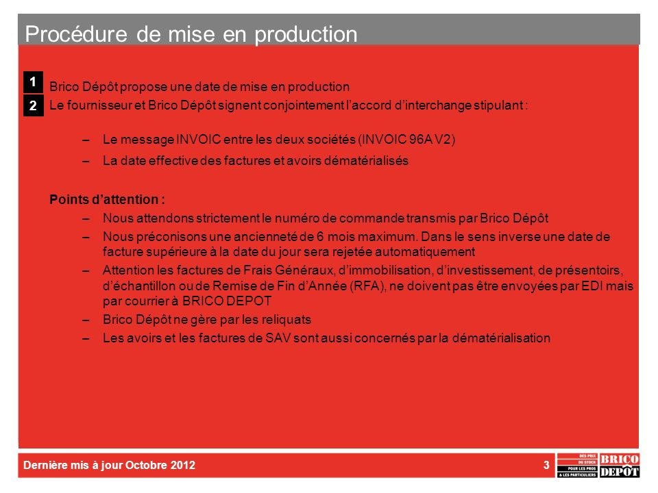 Procédure de mise en production