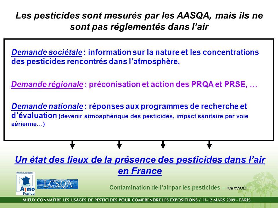 Un état des lieux de la présence des pesticides dans l'air en France