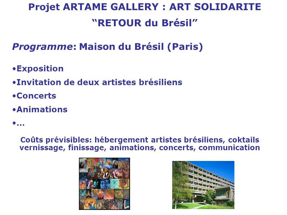 Projet ARTAME GALLERY : ART SOLIDARITE