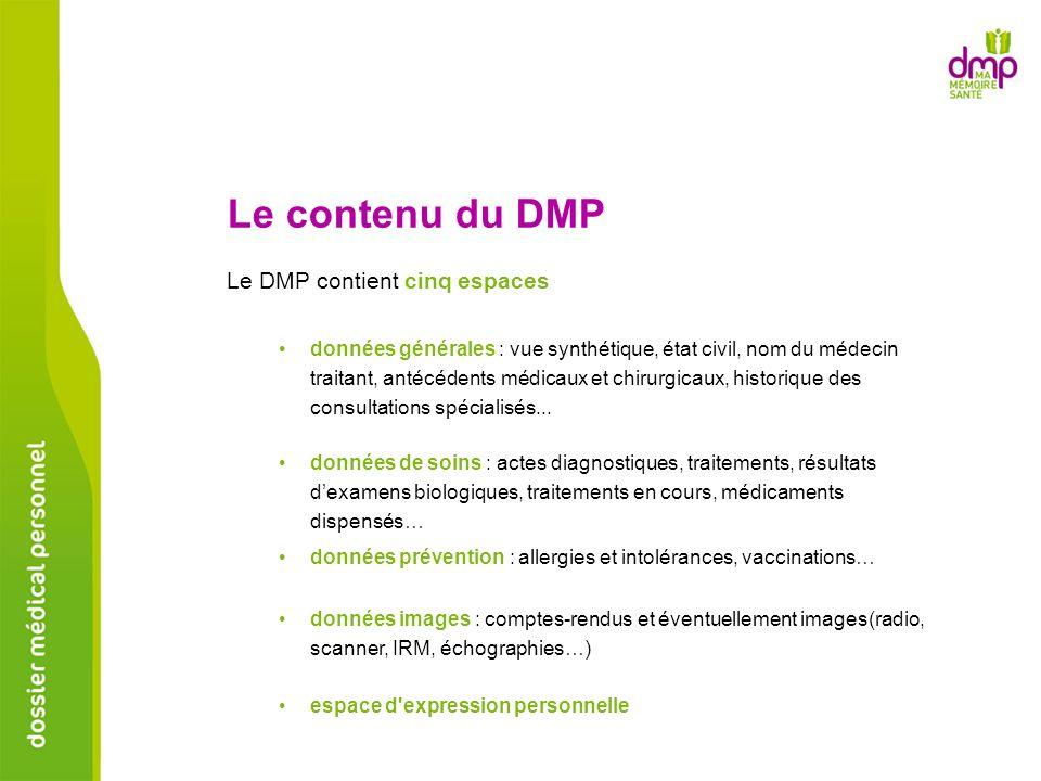 Le contenu du DMP Le DMP contient cinq espaces