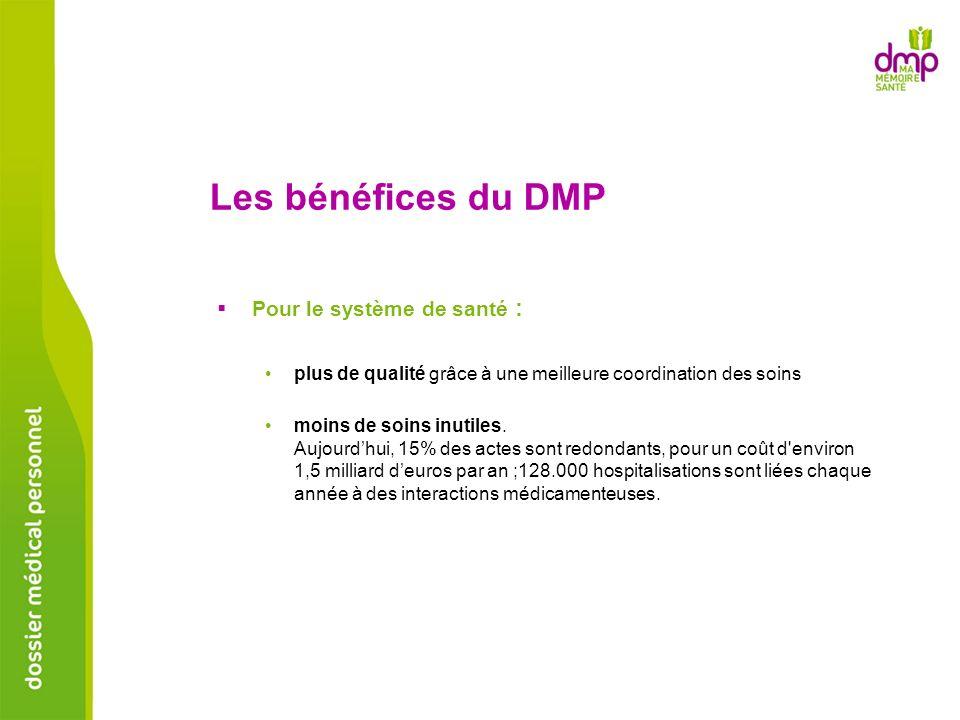 Les bénéfices du DMP Pour le système de santé :