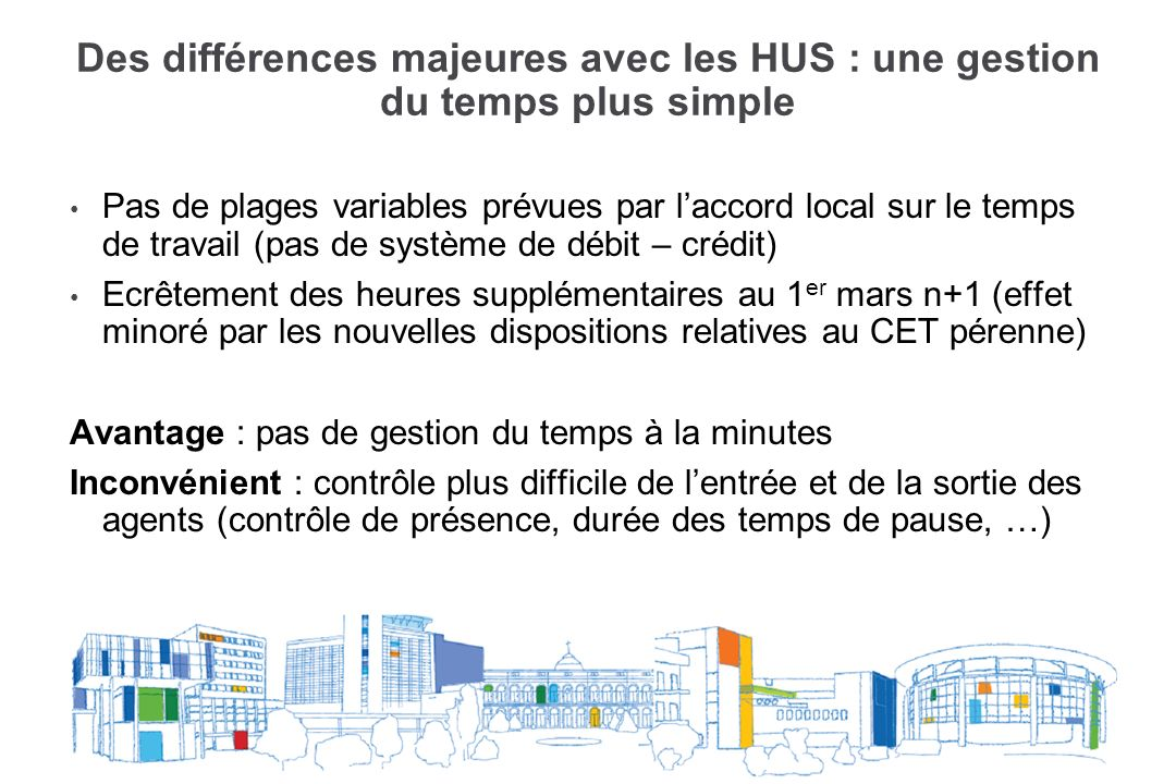 Des différences majeures avec les HUS : une gestion du temps plus simple