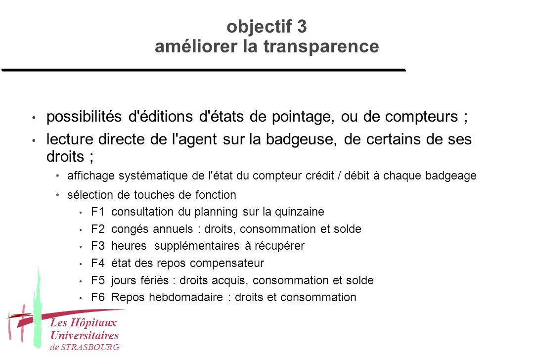 objectif 3 améliorer la transparence