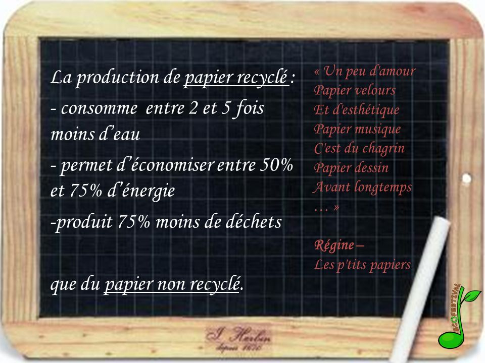 La production de papier recyclé :