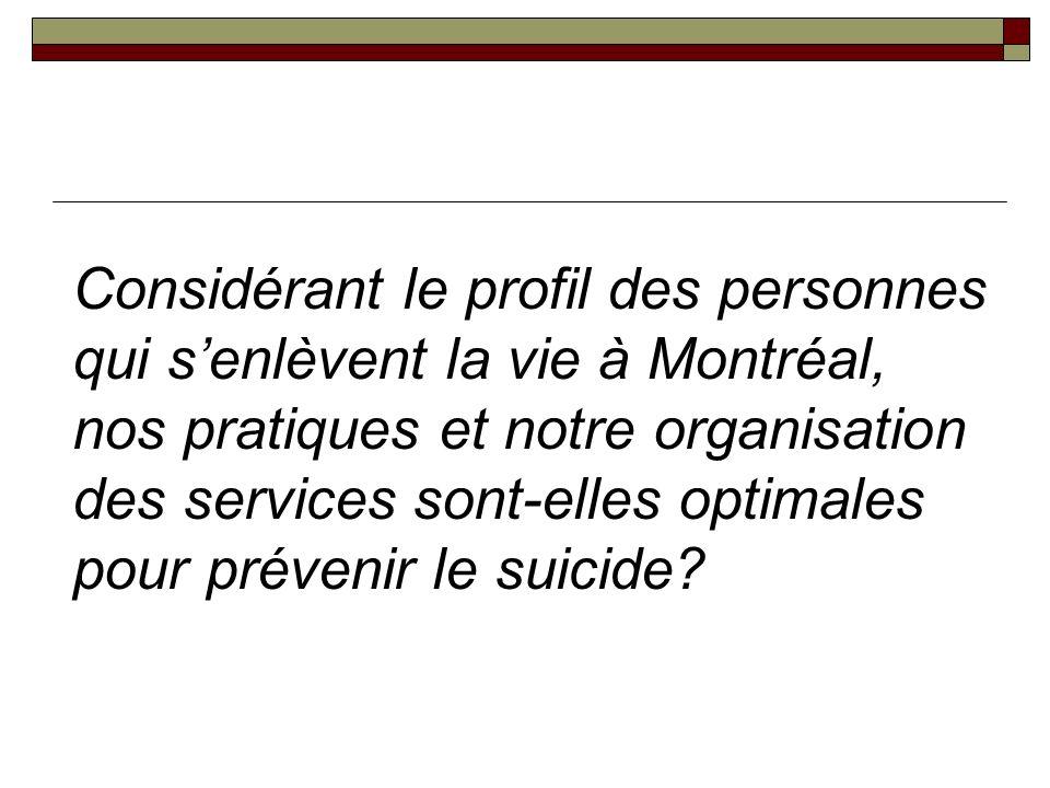 Considérant le profil des personnes qui s'enlèvent la vie à Montréal, nos pratiques et notre organisation des services sont-elles optimales pour prévenir le suicide