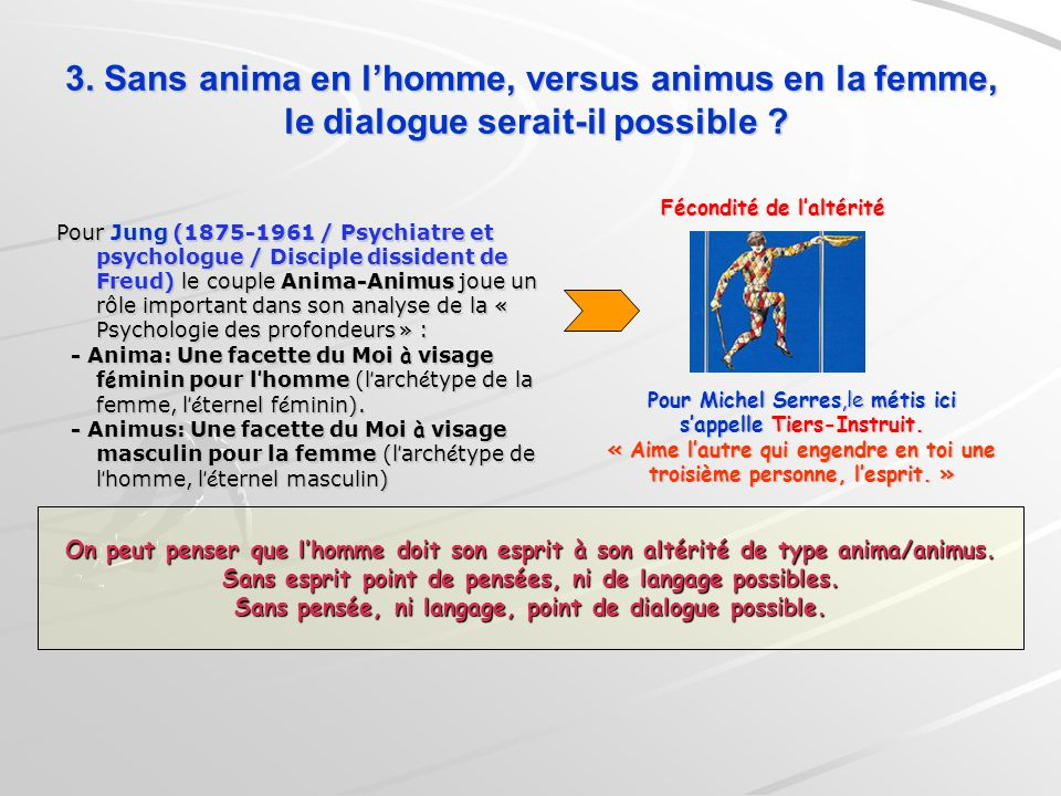 3. Sans anima en l'homme, versus animus en la femme, le dialogue serait-il possible
