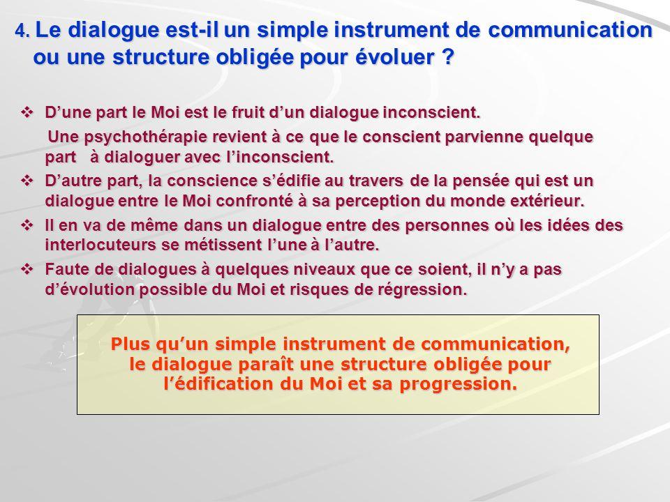 4. Le dialogue est-il un simple instrument de communication ou une structure obligée pour évoluer