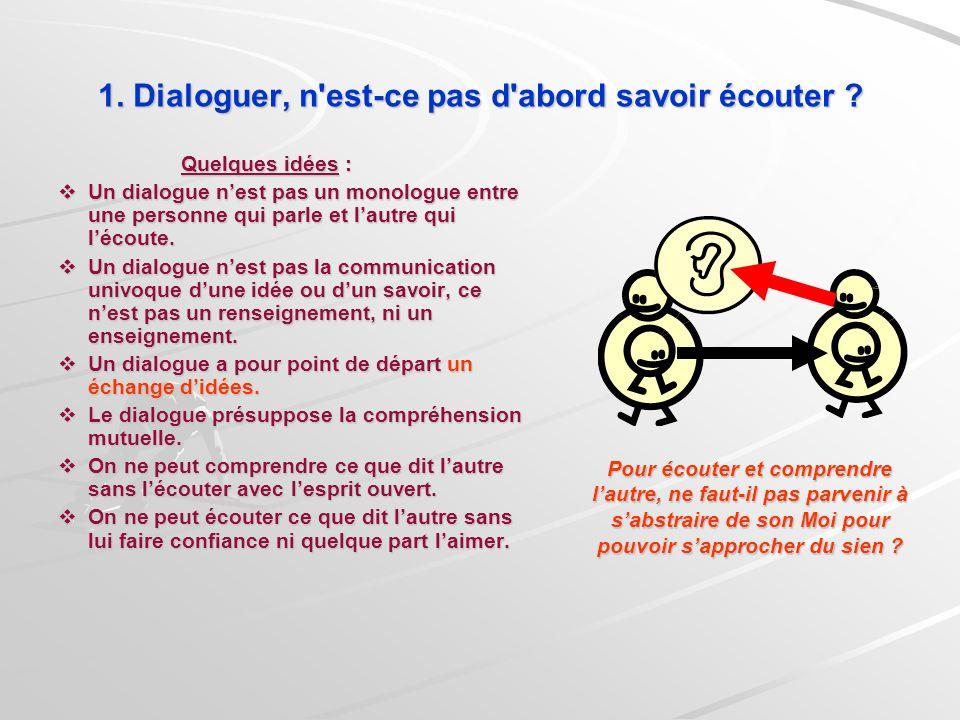 1. Dialoguer, n est-ce pas d abord savoir écouter