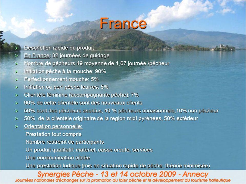 France Description rapide du produit En France: 82 journées de guidage