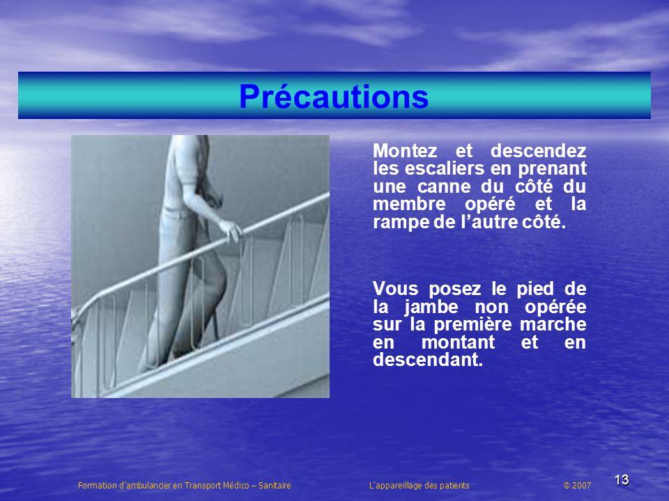 Précautions Montez et descendez les escaliers en prenant une canne du côté du membre opéré et la rampe de l'autre côté.