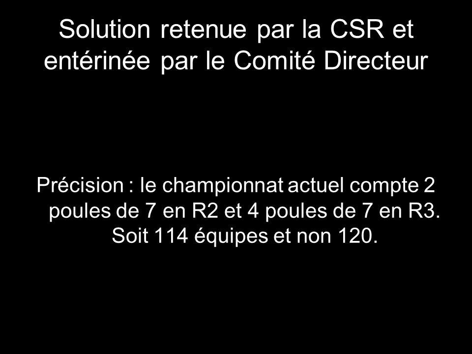 Solution retenue par la CSR et entérinée par le Comité Directeur