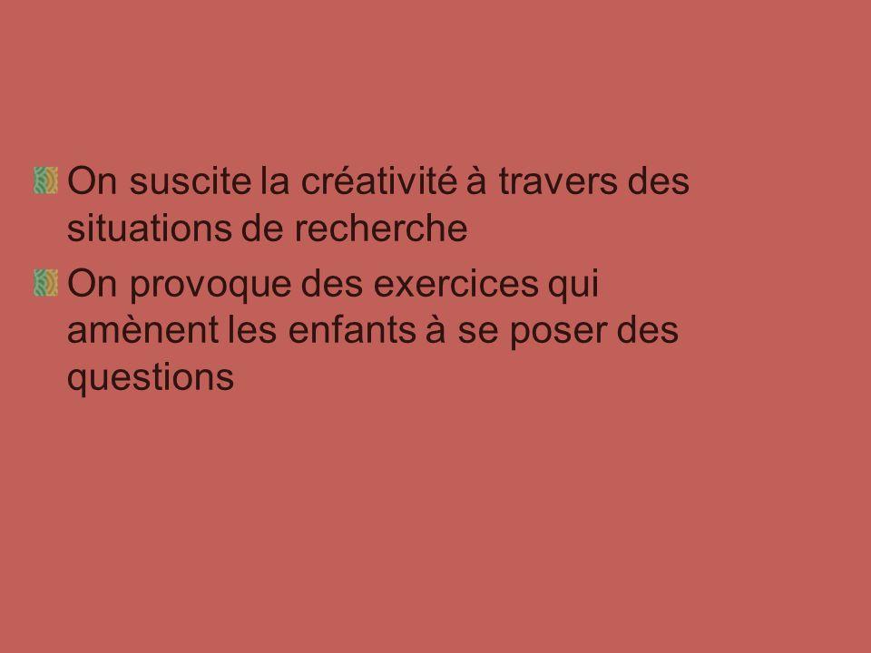 On suscite la créativité à travers des situations de recherche
