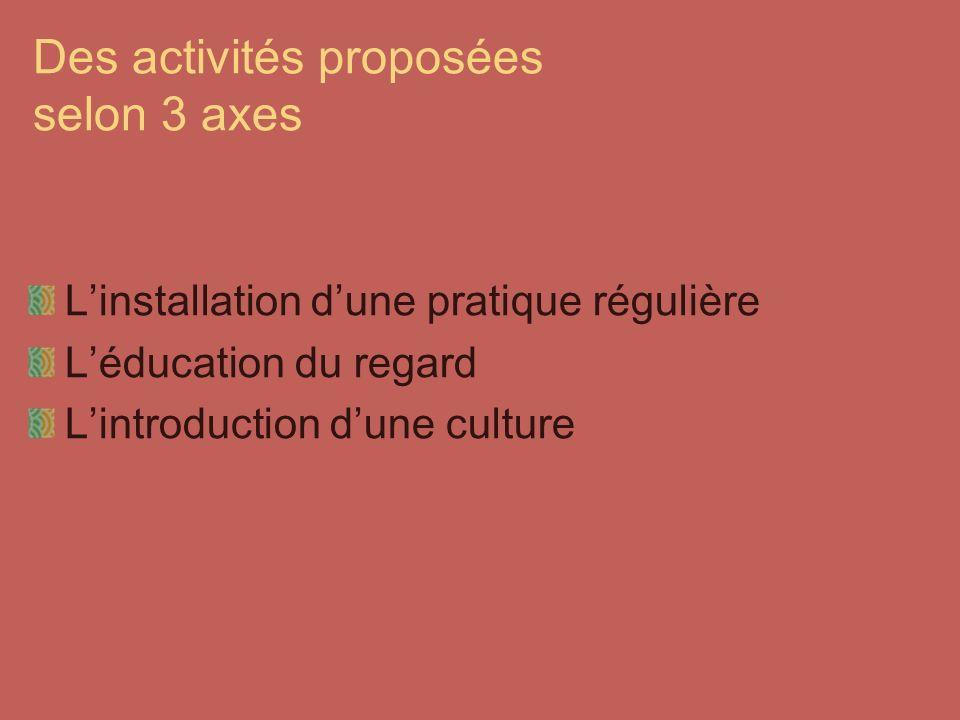 Des activités proposées selon 3 axes