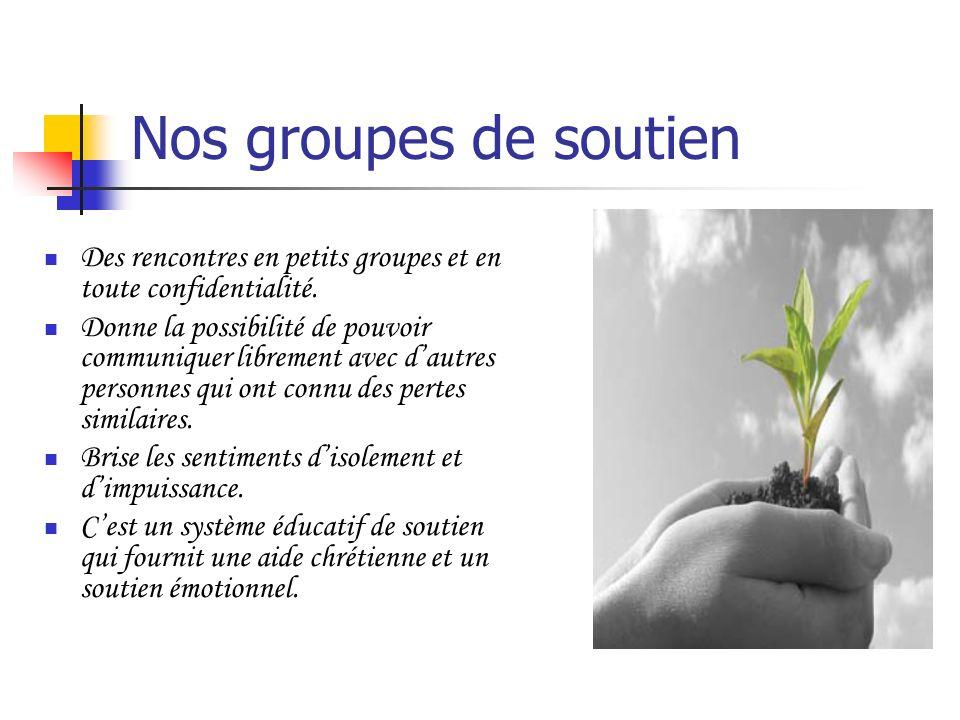 Nos groupes de soutien Des rencontres en petits groupes et en toute confidentialité.