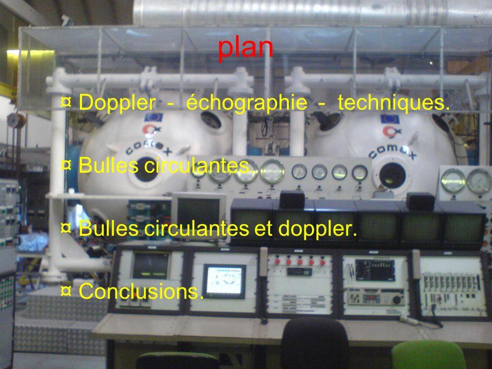 plan ¤ Doppler - échographie - techniques. ¤ Bulles circulantes.