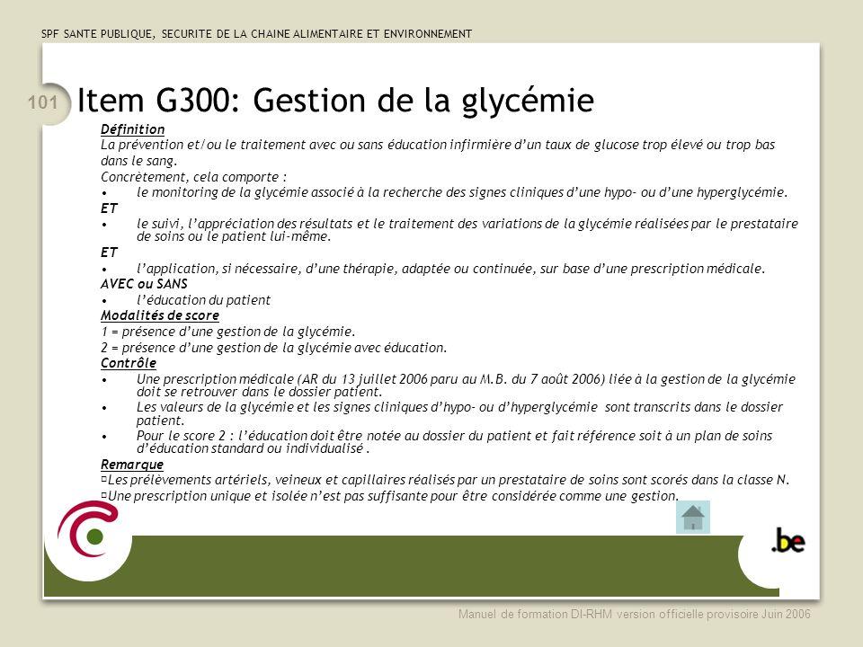 Item G300: Gestion de la glycémie