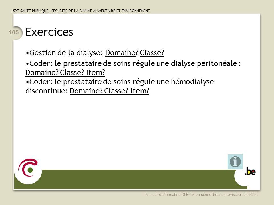 Exercices Gestion de la dialyse: Domaine Classe