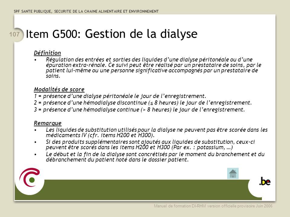 Item G500: Gestion de la dialyse