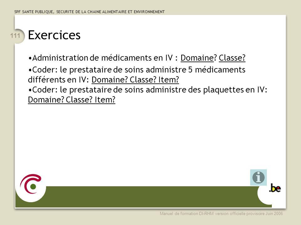 Exercices Administration de médicaments en IV : Domaine Classe