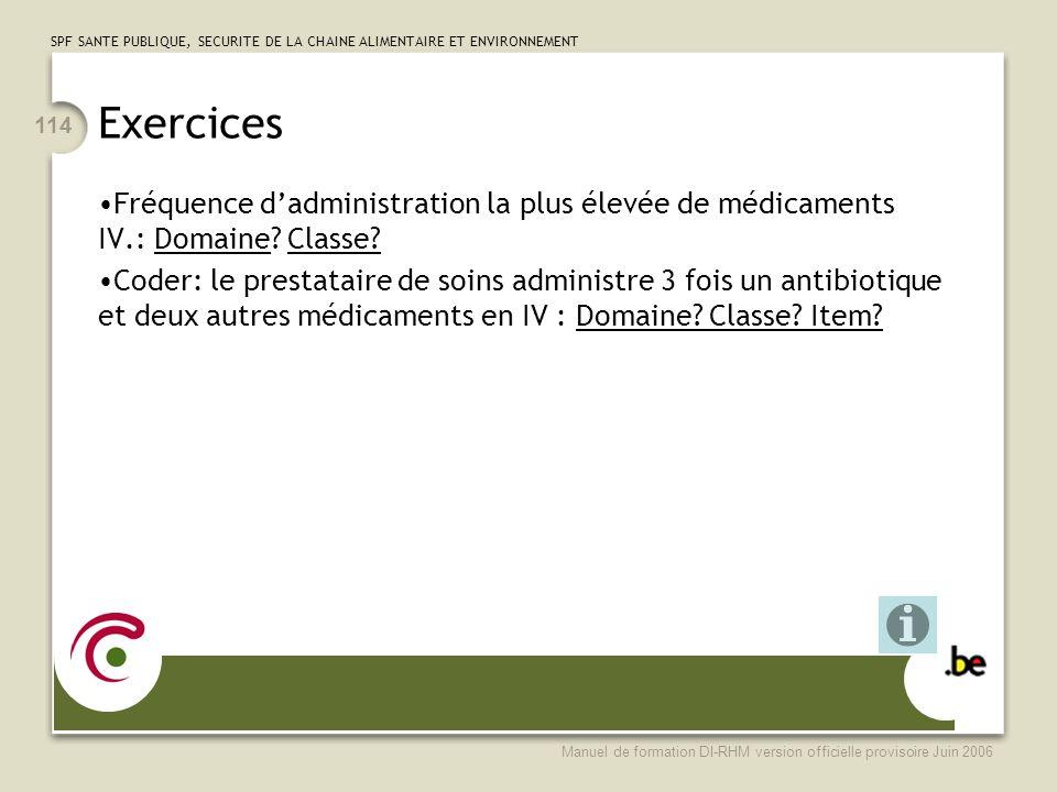 Exercices Fréquence d'administration la plus élevée de médicaments IV.: Domaine Classe
