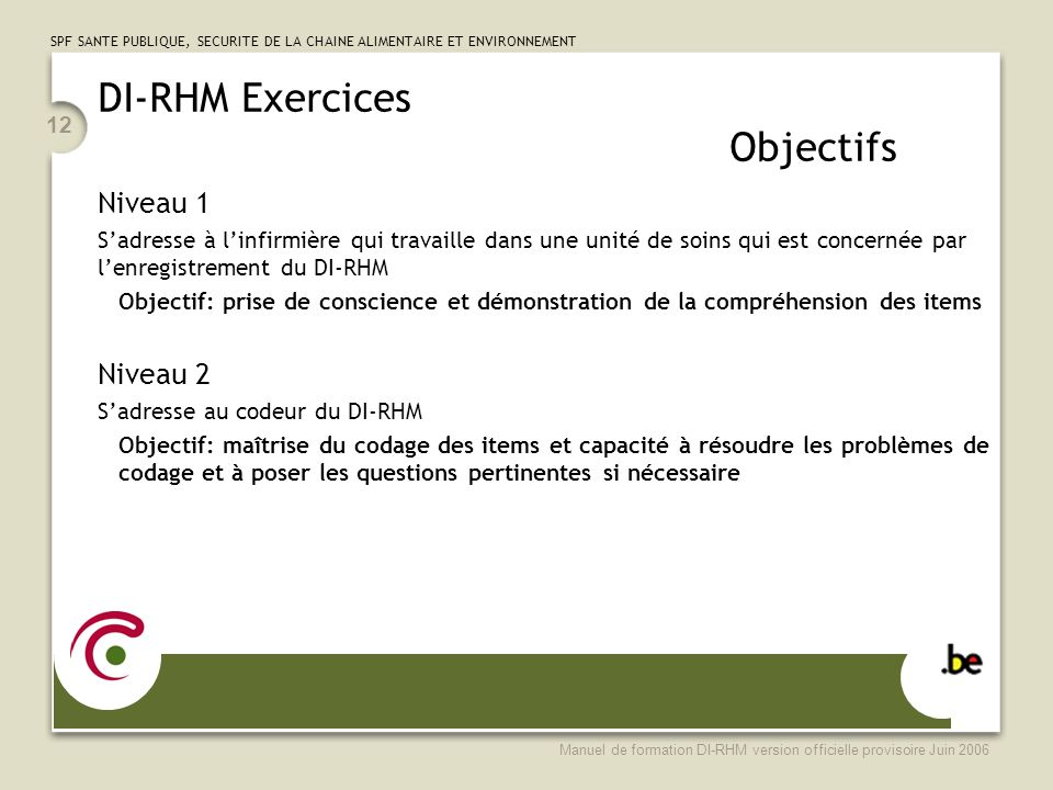 DI-RHM Exercices Objectifs