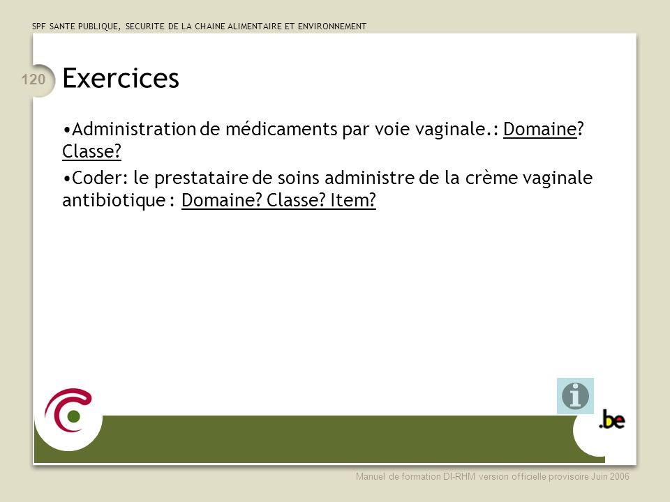 Exercices Administration de médicaments par voie vaginale.: Domaine Classe